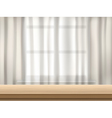 table and curtain background vector image vector image