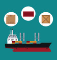 big ship cargo shipping container cardboard box vector image