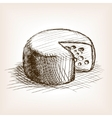 Cheese hand drawn sketch style vector image