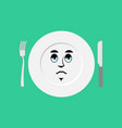 plate sad emoji empty dish isolated sorrowful vector image
