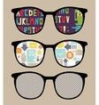 Three retro sunglasses with alphabet reflection vector image