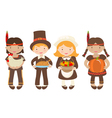 Thanksgiving Kids sharing Food vector image