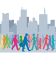 Crowd of people colors walk city vector image vector image