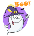Ghost Flying In Night And Text Boo vector image