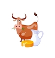 Caow Eating Grass And Dairy Food Milk And Cheese vector image