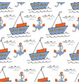 colorful seamless sea pattern with boatsand vector image