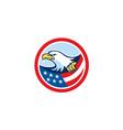 American Bald Eagle Clutching Flag Circle Retro vector image