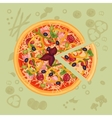 Piece of pizza on the cutting board Pizza menu vector image