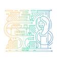 city life - line design composition - color vector image