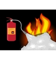 Fire Extinguisher which extinguishes fire on Black vector image