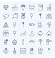Line Birthday Celebration Icons vector image