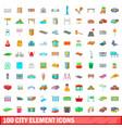 100 city element icons set cartoon style vector image