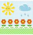 Spring fabric background with sun and flowers vector