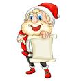 Santa holding a paper scroll vector image vector image