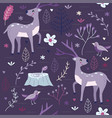 Seamless pattern purple forest with deer vector image