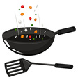 Frying pan and black spatula vector image
