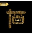 Gold glitter icon of plaque isolated on vector image