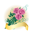 Card with pink roses2 vector image