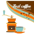 Cup of coffee and grinder on a white background vector image