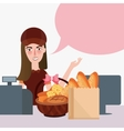 girl cashier food store bread supermarket counter vector image