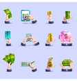 Hands payment flat icons set vector image