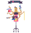 Sewing with dressmaker and differnt tools vector image
