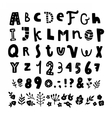 Cute funny hand drawn font and floral elements vector image