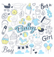 baby shower freehand doodle vector image