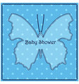Baby-shower-butterfly-blue vector image vector image