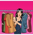 Woman Choosing Clothes in her Wardrobe Pop Art vector image