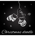 Christmas mittens in doodle style vector image