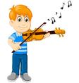 funny boy cartoon playing violin vector image