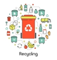 Garbage Waste Recycling Line Art Thin Icons vector image