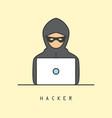 line art icon of a computer hacker vector image