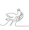 Pigeon in hands logo vector image