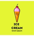 Pink ice cream in a cone vector image