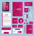 Purple set of corporate identity templates vector image
