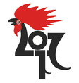 Red fire rooster as symbol of new year 2017 in vector image