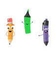 set of funny characters from pencil marker pen vector image