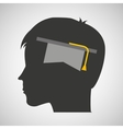 silhouette head boy student hat graduation vector image