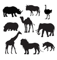 Wild African Animals Black vector image
