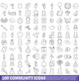 100 community cloud icons set outline style vector image