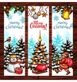 Christmas sketched banner set on wooden background vector image