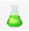 Realistic glass laboratory flask with vector image