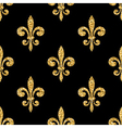 Golden fleur-de-lis seamless pattern black vector image