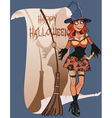 cartoon woman witch broom congratulations vector image