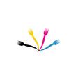 CMYK forks- Logo for a restaurant or cafe vector image