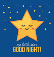 good night card background with cute star vector image