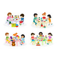 group of children painting on paper at table in vector image