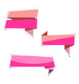 pink ribbon banner paper stickers with shadows vector image